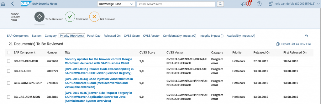 sap security notes august