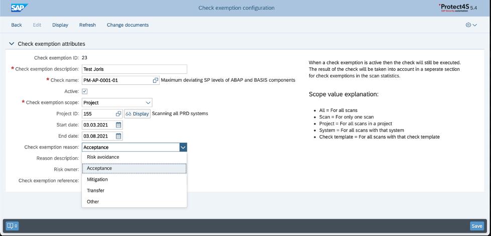 exemption configuration application