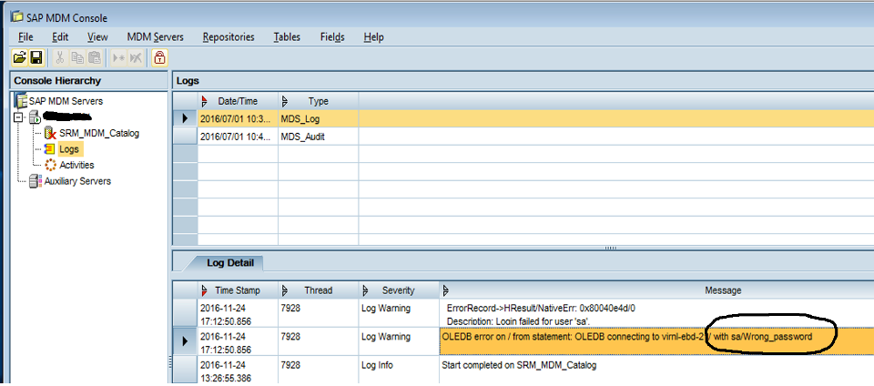 2_SAP Master Data Management_wrong password