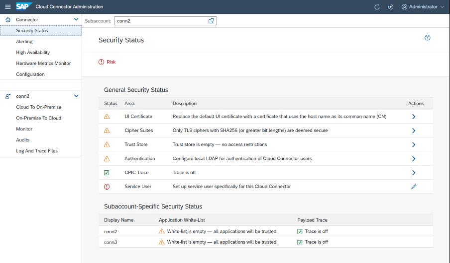 SAP Cloud Connector-security status menu